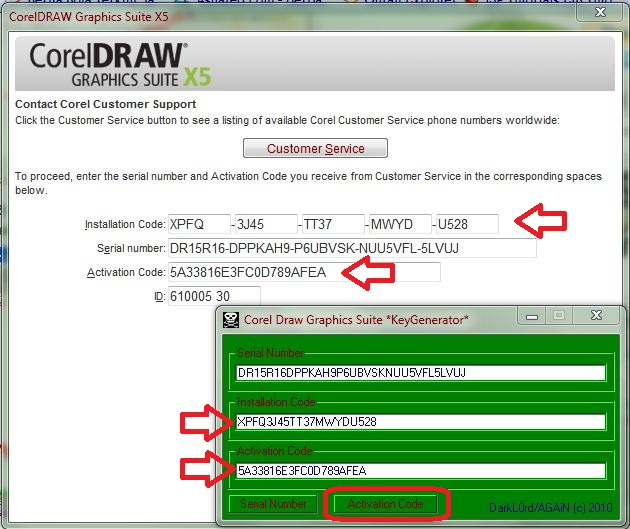 copy activation code tersebut ke activation code kotak ke